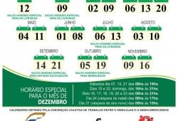 Calendário do Horário do Comércio Varejista de Erechim 2019