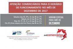 ATENÇÃO PARA O HORÁRIO DE FUNCIONAMENTO DAS LOJAS EM ERECHIM NO MÊS DE DEZEMBRO DE 2017