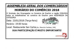 Assembleia Geral dos Comerciários - Horário do Comércio 2018
